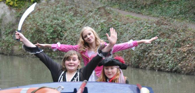Dayboat customers of Bath Narrowboats pirate party