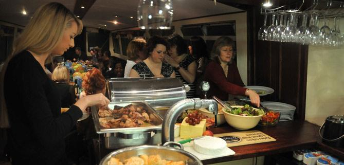 Hot buffet on John Rennie by Gourmet Delicious for Bath Narrowboats