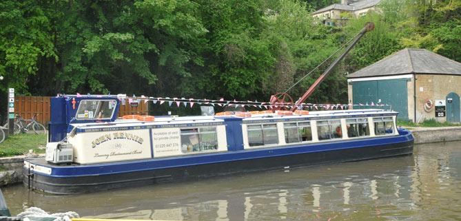 Bath Narrowboats John Rennie luxury restaurant boat on a trip