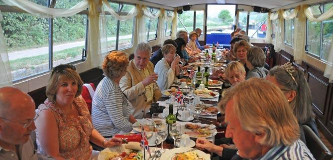 long table on John Rennie by Gourmet Delicious for Bath Narrowboats