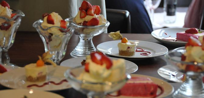 Strawberry desserts on John Rennie by Gourmet Delicious for Bath Narrowboats