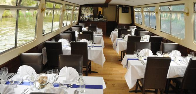 Layout of  tables on John Rennie by Gourmet Delicious for Bath Narrowboats