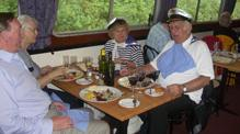 clients eating on John Rennie by Gourmet Delicious for Bath Narrowboats